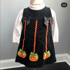 Halloween outfit black corduroy jumper and blouse